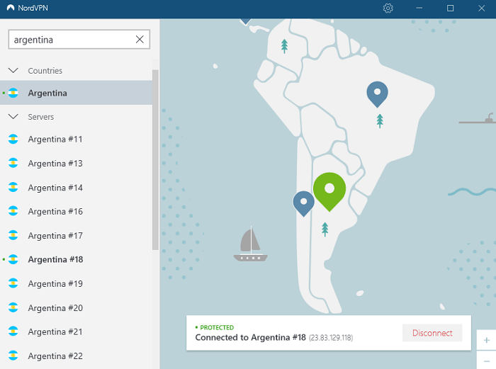 nordvpn-argentinian-server-after-connecting